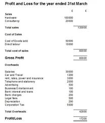 Profit And Los Profit And Loss Statement P L Account Example And Template