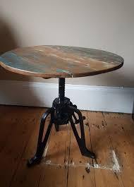 industrial side table rustic reclaimed