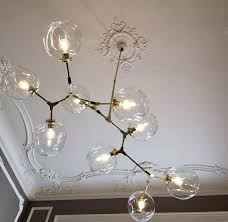 modern chandelier branching bubble style 7 light matte gold or polished silver