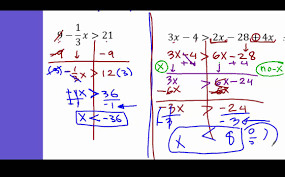 algebra 1 solving inequalities with fraction variable on both sides and evaluate and solve
