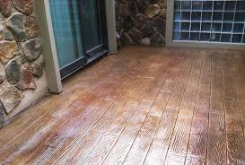 wood stamped concrete patio plank