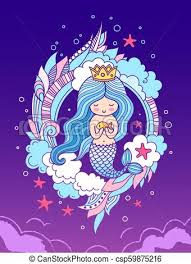 Cute Little Princess Mermaid On A Beautiful Iridescent Background