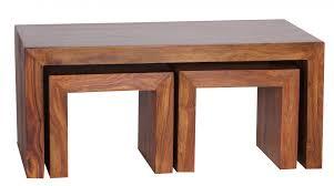 Couchtisch Mumbai Mit Hocker Massiv Holz Sheesham 110cm Breit Wohnzimmer Tisch Dunkel Braun Landhaus Stil Satztisch