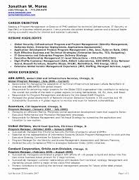 Sample Project Manager Resume Objective Awesome Brilliant Ideas