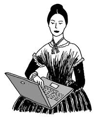 pioneer woman clothing. pioneer woman in old-fashioned clothing typing on computer