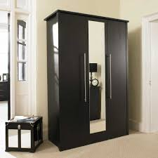 Luxury Bedroom with Black Wardrobe with Mirror Doors, Top Wardrobe Mirror  on Faro 3 Door