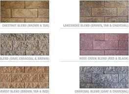 Versa Lok Block Color Chart Wall Color Guides Versa Lok Midwest