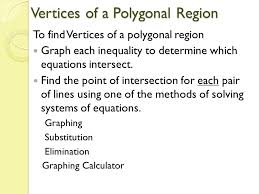 graphing substitution elimination graphing calculator vertices of a polygonal region to find vertices of a polygonal region graph each inequality to
