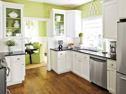 Kitchen:Inspiring Kitchen Idea With Green Wall Paint And Black And White Kitchen  Cabinetry Green