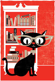 black cat art print screenprint bookworm poster black cat like this item