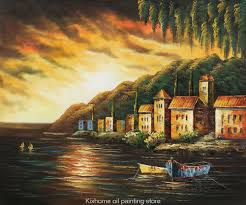 coastline sunset ii terranean scenes by famous scenery artist reion decorative handmade museum landscape oil painting in painting calligraphy