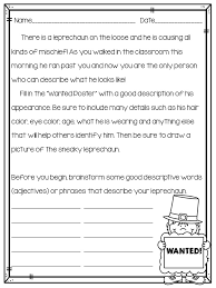 classroom bies too leprechaun descriptive writing activity  loose in the classroom the students will complete a wanted poster they can first illustrate and then write the description of the leprechaun using the