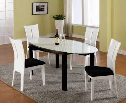 Dining Room Luxury Oval White Dining Table Design With - Modern white dining room sets