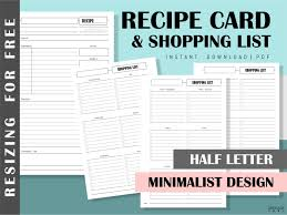 Recipe Journal Template Recipe Card Shopping List Printable Recipe Template Recipe