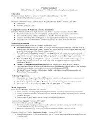 Forensic Science Graduate Resume Digital Forensics Resume List