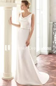 Floor Length V Neck Jeweled Satin Wedding Dress With Brush Train And V Back