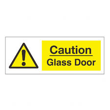 caution glass door safety sign