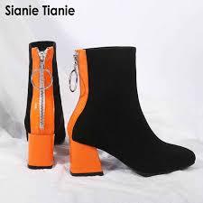 Sianie Tianie <b>2019 Female Sexy Stiletto</b> Sock Booties Stretch Fabric ...