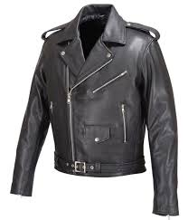 mens real leather moto jacket black