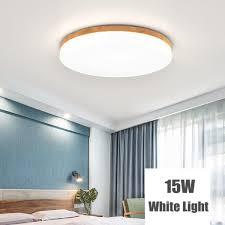 modern simple square wood led ceiling light living room bedroom home lamp