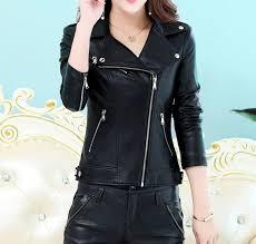 zipper short leather jacket for women s