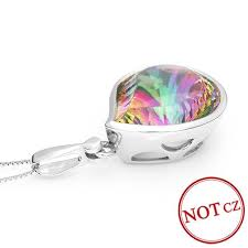 huge 15ct genuine rainbow fire mystic topaz necklace pendant 925 solid sterling silver sets luxury gift