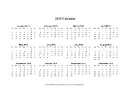 Printable 2015 Calendar On One Page Horizontal