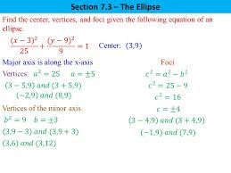 section 7 3 the ellipse find the center vertices and foci given the following