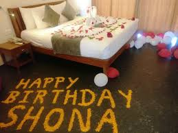 birthday decoration in hotel room