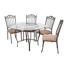 72 off wrought iron round glass table and chairs tables coffee legs second