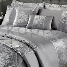details about new 2019 velvet duvet cover set bedding throw grey silver damask foil print