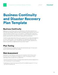 Recovery Plan New Article Business Continuity And Disaster Recovery Plan Template