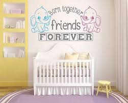 image is loading twins born together friends forever nursery wall art  on nursery wall art stickers ebay with twins born together friends forever nursery wall art decal vinyl