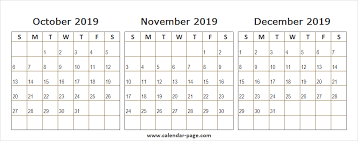 2019 October November December Calendar Online 2019 Wallpaper