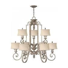 kingsley large edwardian silver leaf chandelier with ivory shades