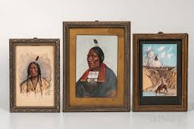 three paintings depicting american indians by skinner 1377546 bidsquare