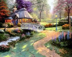 friendship cottage painting thomas kinkade friendship cottage art painting
