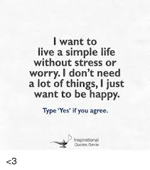 Want To Live A Simple Life Without Stress Or Worry I Don't Need A Amazing Simple Life Quotes