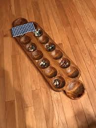 Game With Rocks And Wooden Board Awesome Sungka Mancala Stone Game Large Wooden Board 32 Pits Two Banks Old