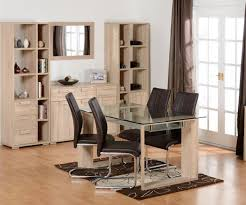 faux leather chair. Seconique Milan Sonoma Oak Dining Set With 4 Brown Faux Leather Chairs Chair