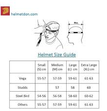 Motorcycle Helmet Measurement Chart 51 Methodical Studds Helmet Size Chart