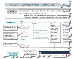 project management quick reference guide project management practice project web app 2010 for team
