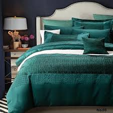 luxury designer bedding set quilt duvet cover blue green bedspreads cotton silk sheets bed linen full queen king size double