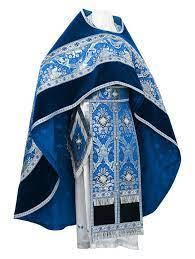 Russian Priest vestments - metallic brocade B (blue-silver) - Istok Church  Supplies Corp.