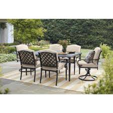 laurel oaks black 7 piece outdoor dining set with beige cushions