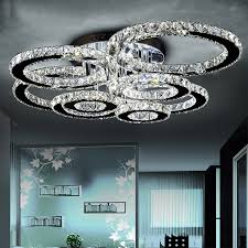 modern led crystal chandelier light round circle flush mounted chandeliers lamp living room res for bedroom dining room