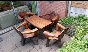 garden furniture table and armchairs unique beautiful exotic wood sutton coldfield west midlands