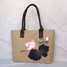 chinese painting series women linen canvas tote bag flower hand painted top handle las pers