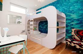 Fascinating white bunk bed design with storage and simply staircase along  with fancy white study set