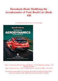 Road Vehicle Aerodynamic Design Rh Barnard Download Ebook Modifying The Aerodynamics Of Your Road